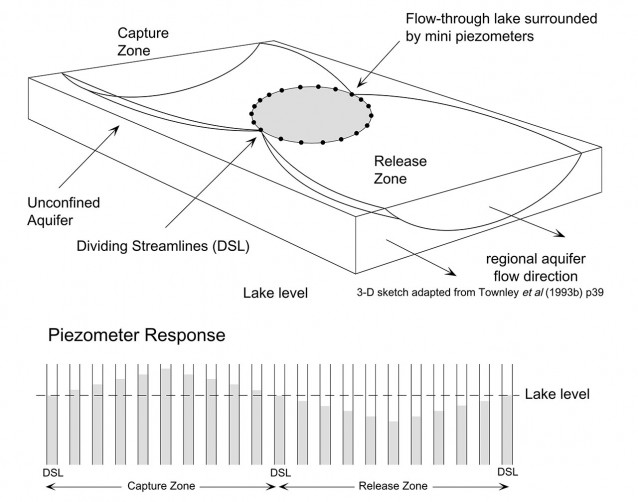 In a flow-through lake the dividing streamlines occur where the piezometric head is equal to the lake surface. If piezometers are installed around such a lake, their response will defined by positive piezometric heads in the capture zone and negative piezometric heads in the release zone.