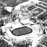 Promotional aerial photo view looking NW circa 1961.  East Lake, with original wetland vegetation is visible upper left.